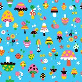 pattern illustration with cute mushrooms, snails & flowers poster