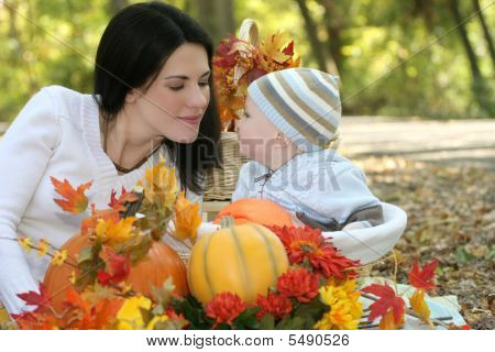 Blue Eyed Baby Boy In Basket, Fall Theme