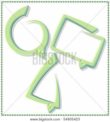 Green speech bubble with a frame - vector