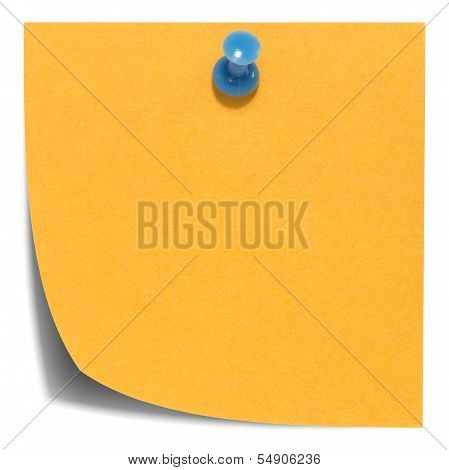 Orange square sticky note, with a blue pin, isolated on white background and with shadow