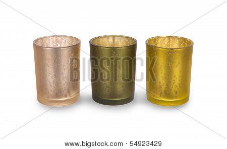 Three Green Candleholders