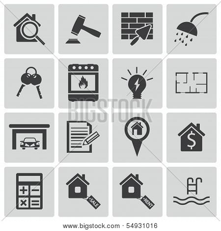Vector black  rea estatel icons set