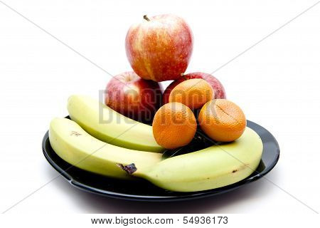 Fresh  Yellow Bananas with  Red Apples and Orange Mandarin