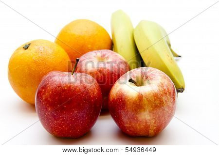 Fresh Rea Apples with Yellow bananas and Orange