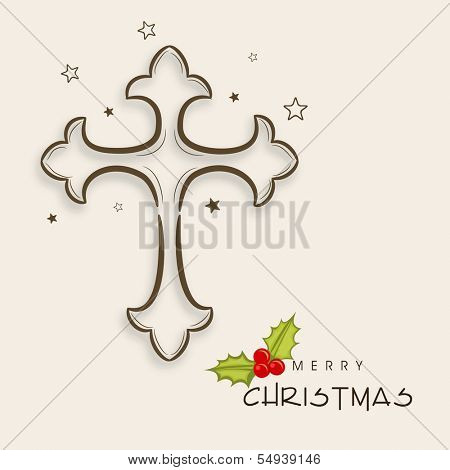 Merry Christmas celebration greeting card or invitation card with Christian cross on abstract background.