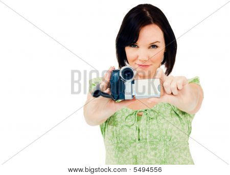 happy Woman holding home-Video-Kamera