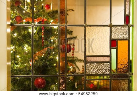 Interior With Christmas Tree And Stained Glass