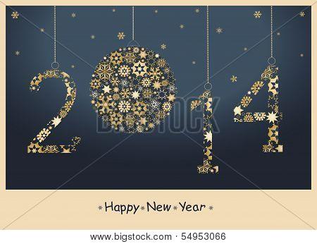 2014 Feliz año nuevo saludo tarjeta Vector