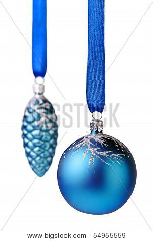 Christmas Decorations. Blue Christmas Ball And Cone On White Background. Selective Focus.