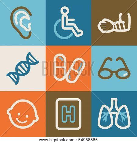 Medicine web icons, vintage series