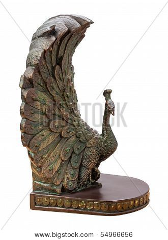 Bronze Peacock Bookend Isolated