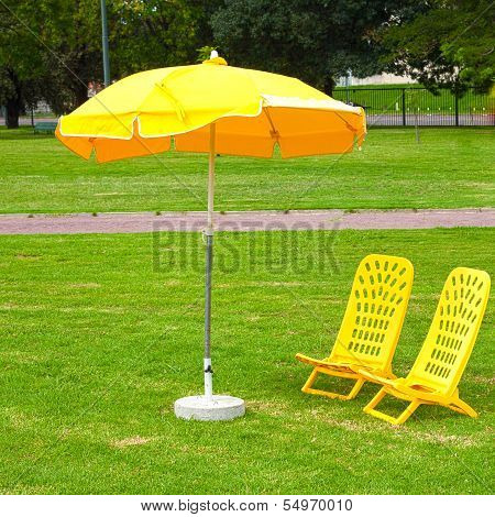 Yellow Umbrellas And Loungers Standing On The Grass