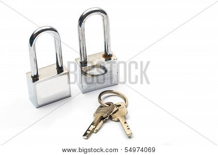 Lock With Keys Isolated On White