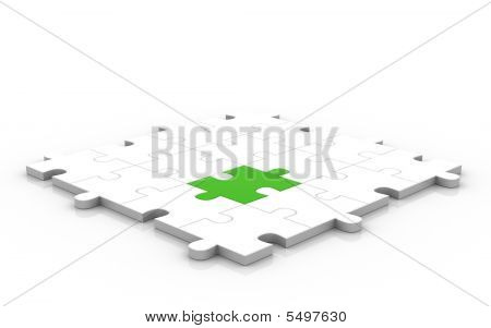 3D Puzzle With Green Piece