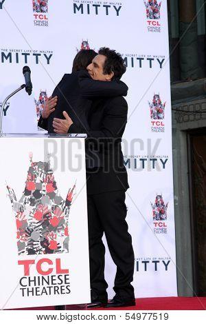 LOS ANGELES - DEC 3:  Tom Cruise, Ben Stiller at the Ben Stiller Handprint and Footprint Ceremony at Dolby Theater on December 3, 2013 in Los Angeles, CA