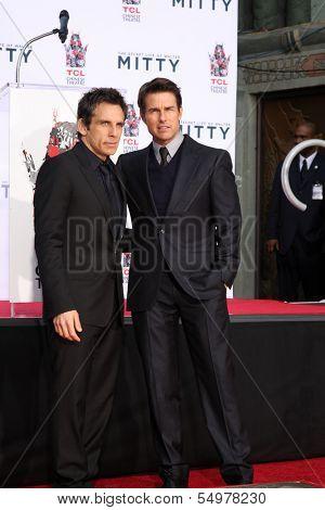 LOS ANGELES - DEC 3:  Ben Stiller, Tom Cruise at the Ben Stiller Handprint and Footprint Ceremony at Dolby Theater on December 3, 2013 in Los Angeles, CA