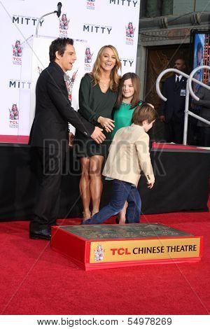 LOS ANGELES - DEC 3:  Quinlin  Stiller, Ben Stiller, Christine Taylor, Ella Olivia Stiller at the Ben Stiller Handprint and Footprint Ceremony at Dolby Theater on December 3, 2013 in Los Angeles, CA