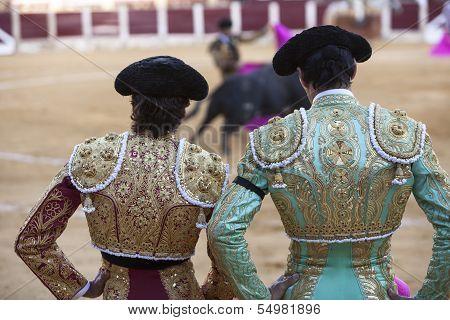 Spanish Bullfighters looking bullfighting