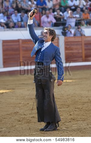 Spanish bullfighter on horseback Pablo Hermoso de Mendoza thank the trophy which has been awarded th