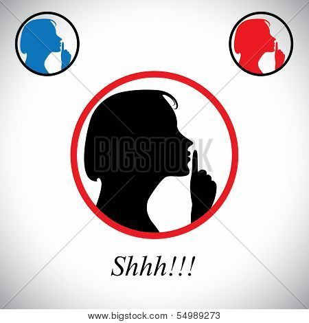 girl gesturing silence saying shh using her hand - concept vector. This graphic contains a young woman raising her forefinger to her lips indicating to stop talking making noise & to be silent poster