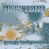 set of halftone on the grunge vector background poster
