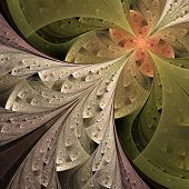 Beautiful fractal flower in beige brown and green. Computer generated graphics. poster