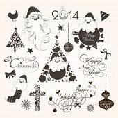 Calligraphic and typographic elements, frames, vintage labels, stickers, or tags for Merry Christmas and Happy New Year 2014 celebrations.  poster