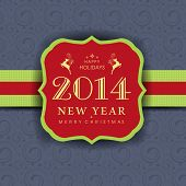 Happy New Year 2014 celebration badge in red and green on grey background.  poster