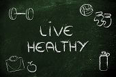 fitness equipment: symbols of living healthy and fit poster