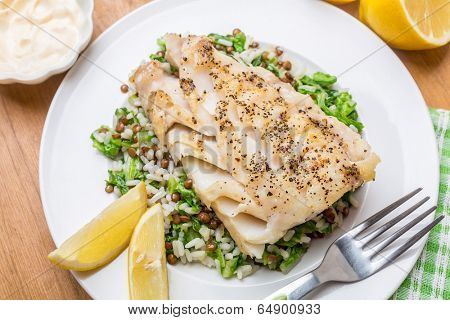 Cod  with Lentil, Rice and Silver Beet Pilaf