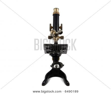 Antique Microscope Front View - Isolated