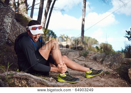 running injury for trail runner on mountain twisted ankle poster