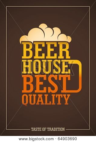 Beer house poster design with typography. Vector illustration.