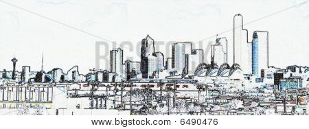 Architectual Conceptual View Of Seattle Skyline From