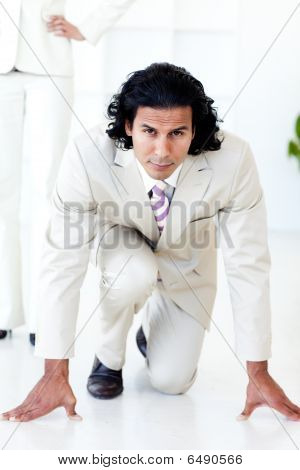 Portrait Of An Attractive Businessman On His Marks