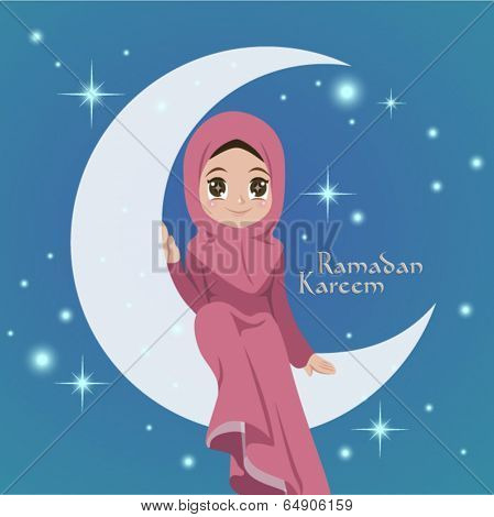 Vector Illustration of Muslim Girl Sitting On The Moon. Translation: Ramadan Kareen - May Generosity Bless You During The Holy Month
