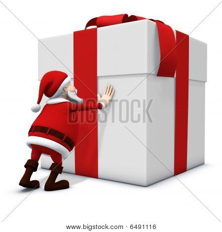 Santa Pushing Big Present
