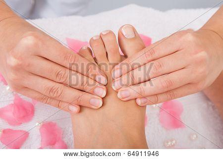 Woman's Feet Receiving Foot Massage