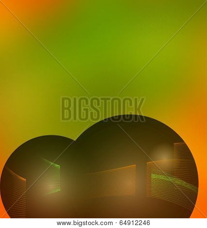Soft colored abstract background with line wave blend effect. Green and orange blurred backdrop for web and mobile. Mesh is used to create smooth colors... poster
