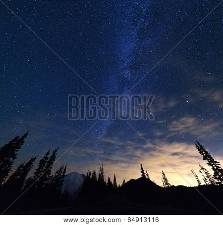 Mt Rainier And Milky Way