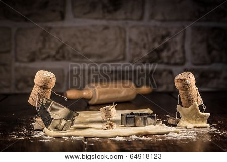 Concept family cut out bisquits wine cork figures poster