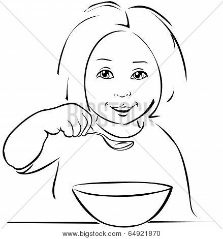 Child Eating - Black Outline