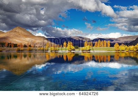 Mountain landscape in autumn colors, Lake Benmore, New Zealand