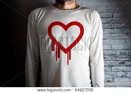 Hearbleed Bug Symbol On White Shirt