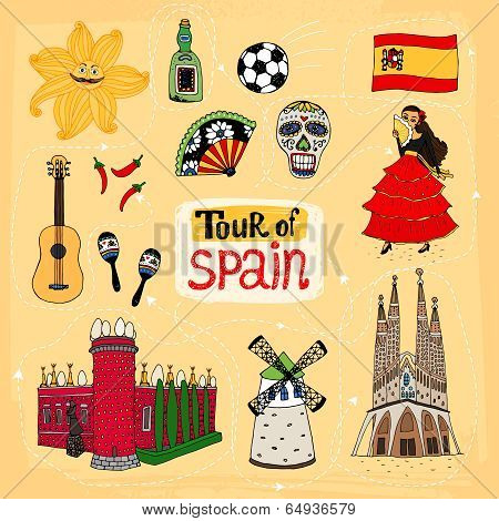 Tour of Spain hand-drawn illustration with famous landmarks and cultural traditions including Sagrada Familia  a windmill  flamenco dancer  skull from the Festival of the Dead and Castello de Mendoza poster