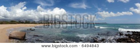 Sand Island Beach Park Panoramic, Oahu, Hawaii