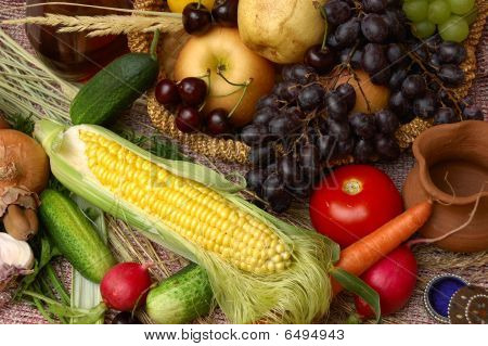 Fruit, Vegetables And Corn