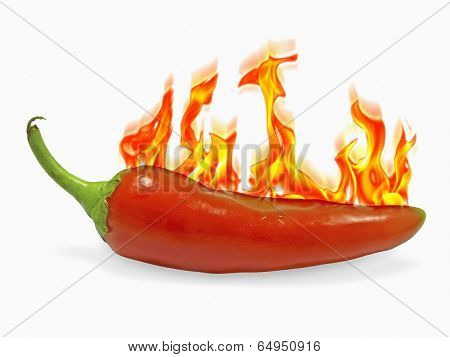 Bright Red Chili Pepper With Flames