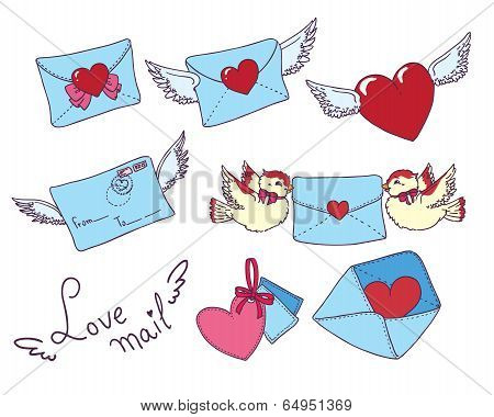 Set vector e-mail, envelop icons with heart .