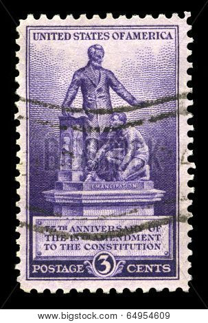 Us Postage Stamp Commemorating The 13Th Amendment